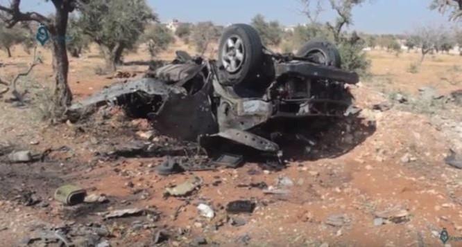 Hiện trường vụ đánh bom kinh hoàng tiêu diệt thủ lĩnh Hồi giáo cực đoan ở Idlib