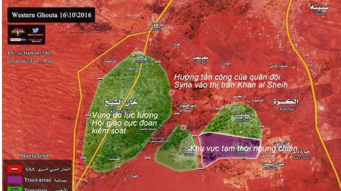 Bàn đồ vùng chiến sự khu vực Tây Ghouta