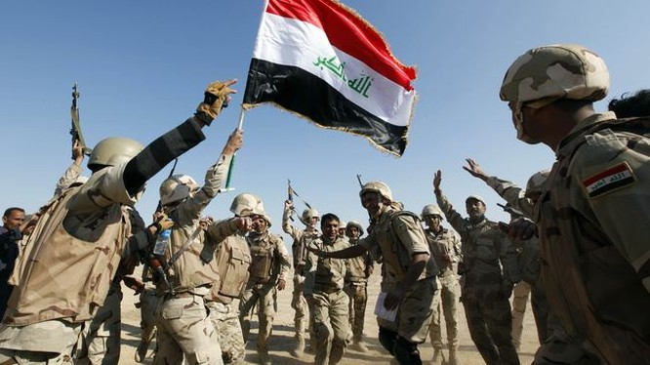 Nhóm binh sĩ Iraq trên chiến trường ngoại ô thành phố Mosul