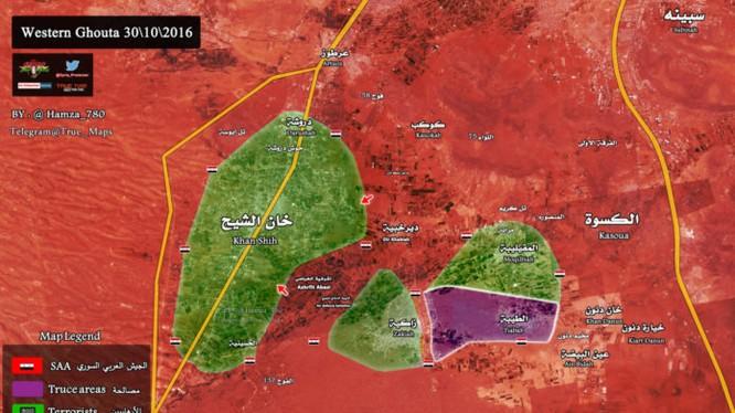 Quân đội Syria cắt rời các khu vực trên vùng Tây Ghouta Damascus