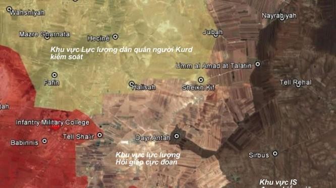 Bản đồ phân bổ lực lượng đối kháng trên vùng miền Bắc Aleppo