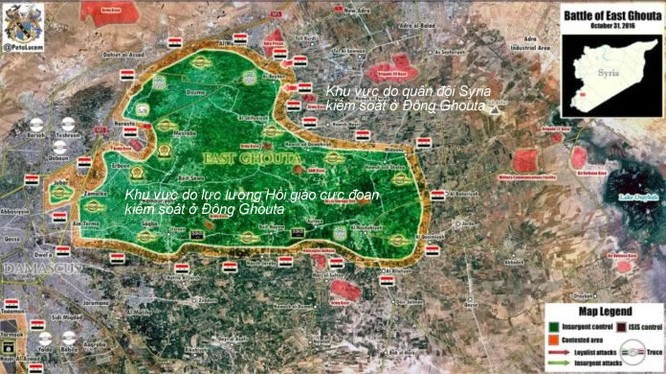Bản đồ chiến sự khu vực Đông Ghouta