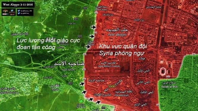 Bản đồ chiến sự thành phố Aleppo ngày 03.11.2016