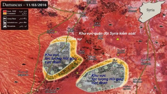 Bàn đồ tình hình chiến sự khu vực Tây Ghouta
