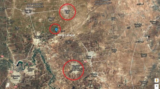 Bản đồ các mục tiêu then chốt trong kế hoạch phản công trên vùng đông bắc tỉnh Hama