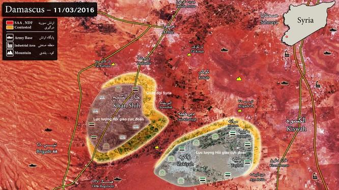 Bản đồ chiến sự khu vực Tây Ghouta, thị trấn Khan al - Sheih