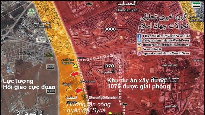 Bản đồ trận đánh giải phóng khu xây dựng chung cư dự án 1070 Tây Nam Aleppo