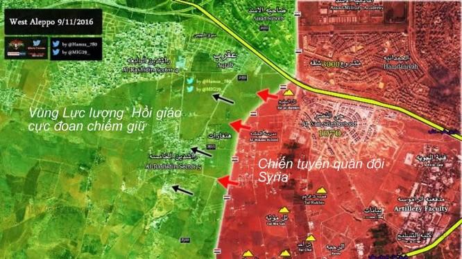 Chiến trường Tây Nam Aleppo ngày 09.11.2016 (Nguồn Al Masdar)