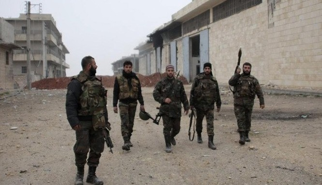 Binh sĩ quân đội Syria trong một khu vực vừa được giải phóng