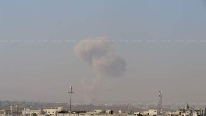 Tên lửa hành trình Kalibr tấn công thị trấn Saraqip, tỉnh Idlib
