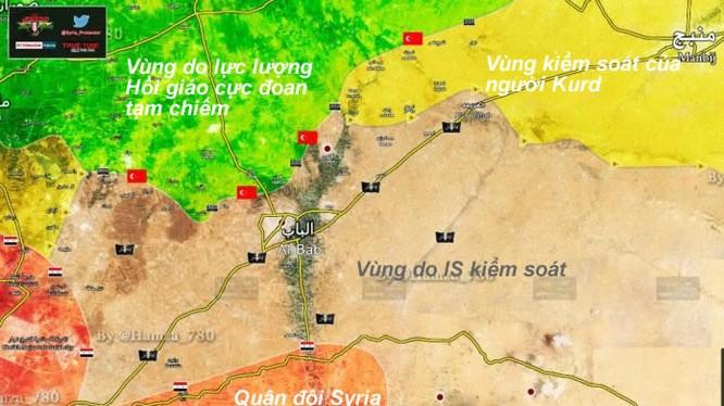 Bản đồ phân vùng lực lượng quanh thành phố Al - Bab phía Bắc Aleppo