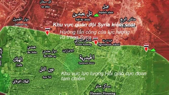 Bản đồ chiến sự khu vực các quận phía Đông thành phố Aleppo