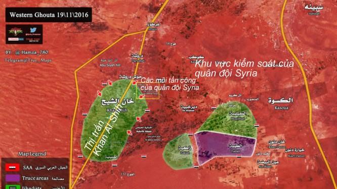 Bản đồ chiến sự khu vực Tây Ghouta