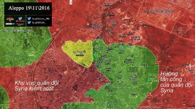Bản đồ tình huống chiến sự khu vực phía Đông Thành phố Aleppo