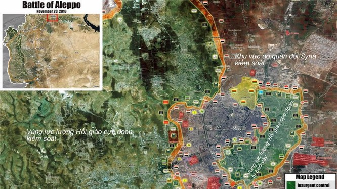 Bản đồ tình huống chiến trường Aleppo