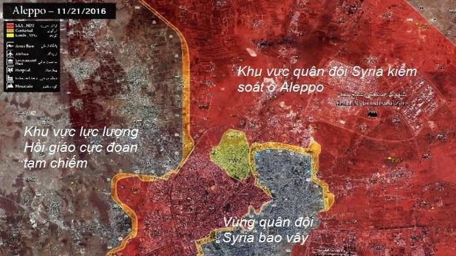 bản đồ chiến sự thành phố Aleppo tính đến ngày 21.11.2016