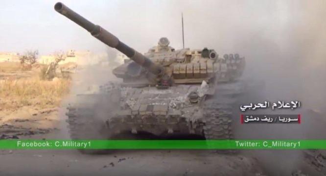 Xe tăng quân đội Syria tấn công trên chiến trường Đông ghouta