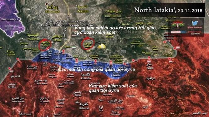 Bản đồ tình hình chiến sự vùng Đông Bắc Latakia