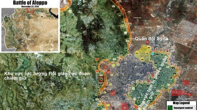 Bản đồ tình huống chiến trường phía Tây Ghouta