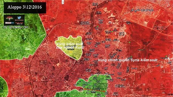 Bản đồ chiến sự thành phố Aleppo khu vực phía đông
