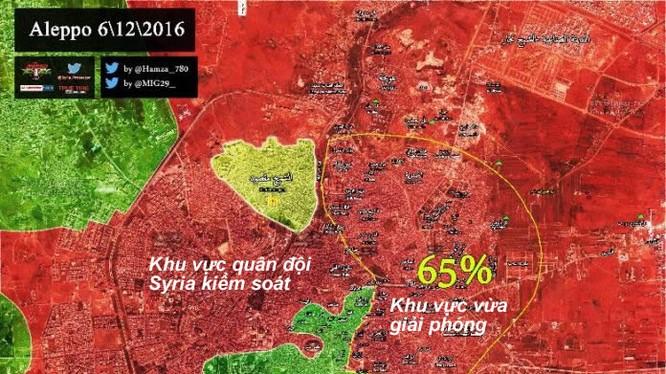 Bản đồ chiến sự thành phố Aleppo, cuối ngày 06.12.2016