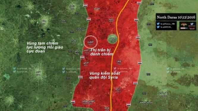 Bản đồ khu vực quân đội Syria đánh chiếm thị trấn Al-Faqiya ở Daraa