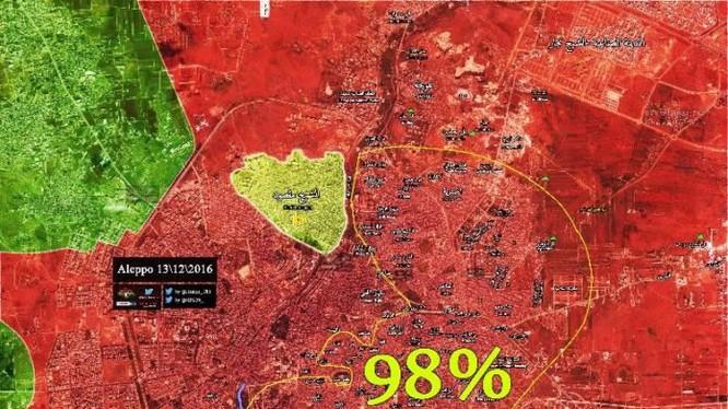 Bản đồ chiến sự thành phố Aleppo ngày 13.12.2016