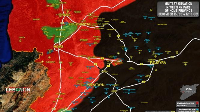 Bản đồ chiến sự tỉnh Homs, IS đe dọa bao vây sân bay T-4