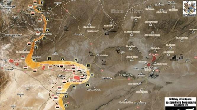 Chiến tuyến vùng sa mạc phía đông tỉnh Homs ngày 17.12.2016