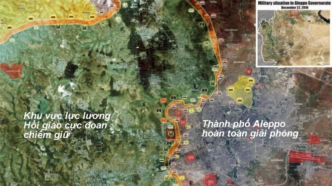 Bản đồ chiến sự thành phố Aleppo tính đến ngày 22.12.2016
