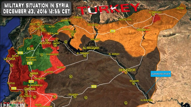 Bàn đồ tình hình chiến sự Syria tính đến ngày 23.12.2016