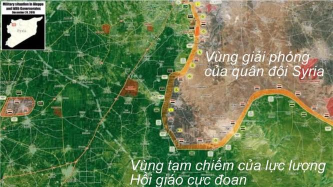 Bản đồ phân vùng lực lượng phía Nam tỉnh Aleppo