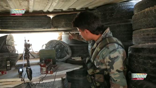 Một điểm hỏa lực của quân đội Syria trên chiến trường phía Tây Nam Aleppo
