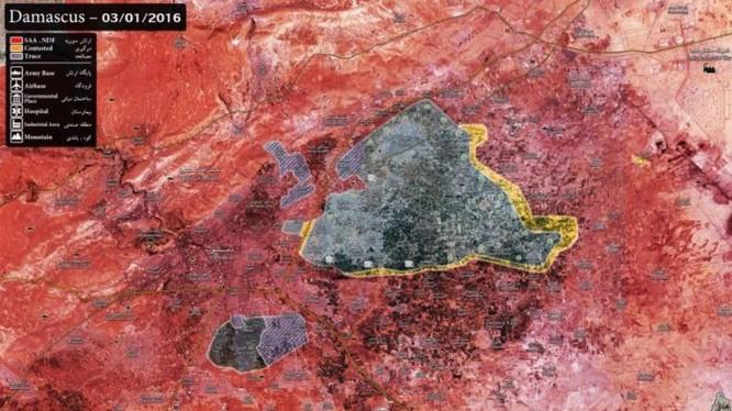 Bàn đồ tình hình Đông Ghouta cho thấy, diện tích kiểm soát của phiến quân đã thu hẹp nhiều kể từ tháng 11.2016