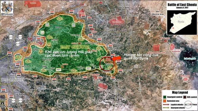 Tình huống chiến trường Đông Ghouta tính đến ngày 04.01.2016