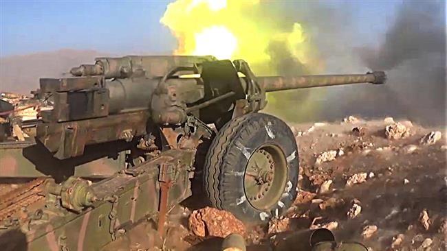 Một khẩu pháo hạng nặng quân đội Syria khai hỏa