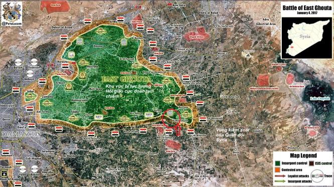 Bản đồ chiến sự vùng Đông Ghouta tính đến ngày 15.01.2017