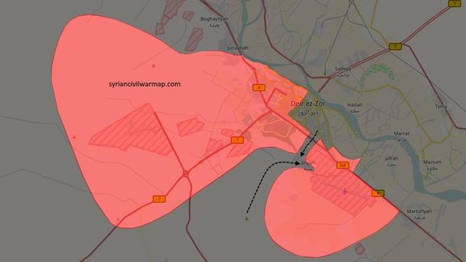 Khu vực phòng thủ chiến trường Deir eZZor bị chia cắt thành 2 theo Amaq của IS