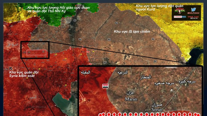 Bản đồ chiến sự khu vực phía đông thành phố Aleppo