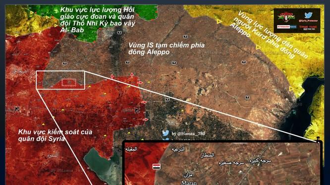 Bản đồ chiến sự lực lượng Tigers phía đông Aleppo