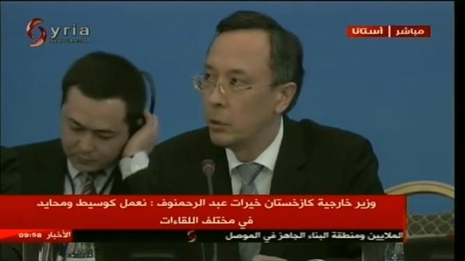 Bộ trưởng bộ ngoại giao Kazakhstan đọc bài phát biểu khai mạc hội nghị khó khăn nhất trong thế kỷ 21, nhằm mang lại hòa bình và ổn định cho Trung Đông nói chung và Syria nói riêng