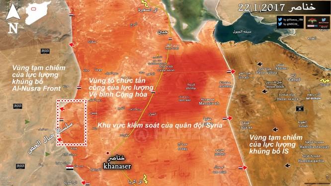 Bản đồ khu vực chiến trường Khanaser Đông Nam Aleppo