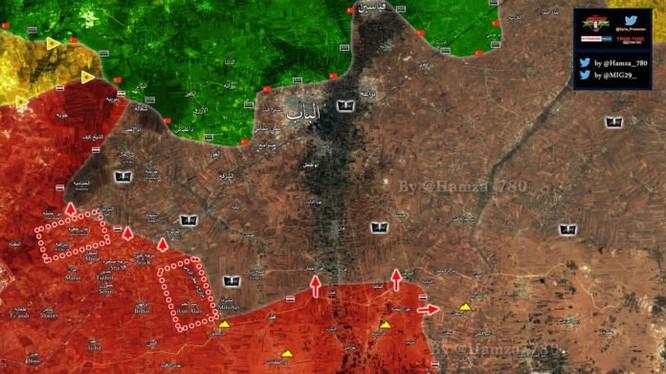 Bản đồ khu vực chiến sự phía đông thành phố Aleppo