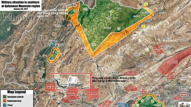 Bản đồ chiến sự vùng ngoại ô Damascus gần biên giới Lebanon, lực lượng chiến binh thánh chiến tiếp tục đầu hàng và giao nộp vũ khí
