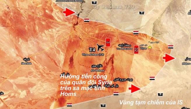 Bản đồ chiến sự khu vực sân bay quân sự T-4, Palmyra