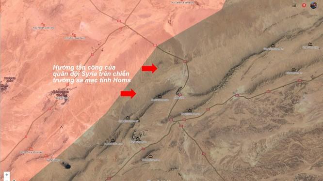 Hướng tấn công của Lữ đoàn Diều hâu Sa mạc về hướng Palmyra