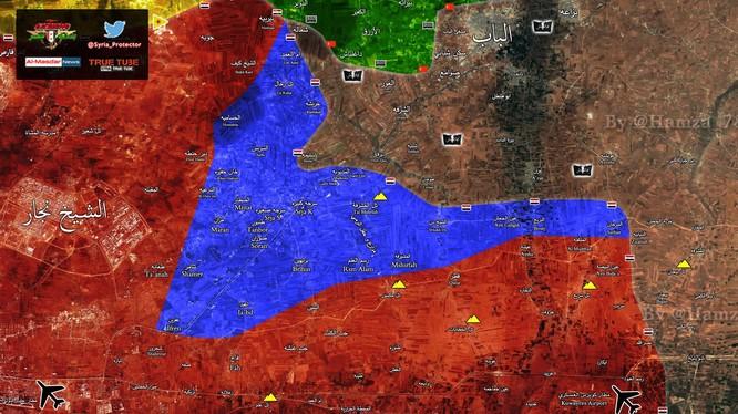Vùng màu xanh là vùng lãnh thổ lực lượng Tigers đã giải phóng trong 3 tuần qua