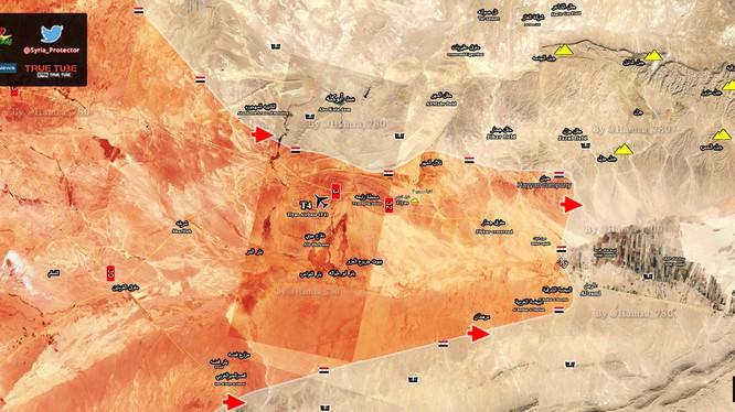 các hướng tấn công chính của quân đội Syria trên vùng sa mạc Palmyra