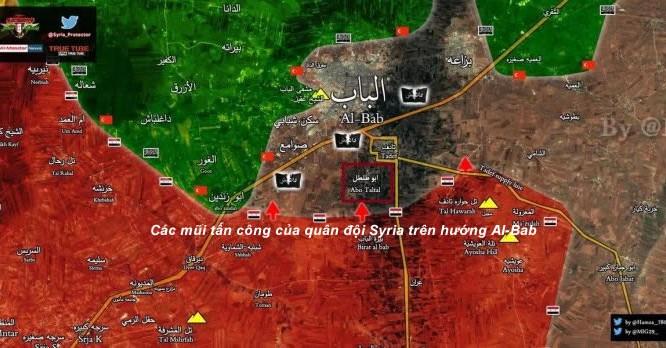 Bản đồ chiến sự vùng Al-Bab, phía đông thành phố Aleppo