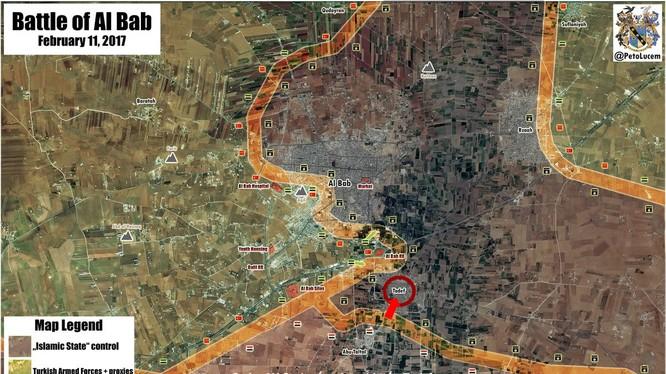 Bản đồ khu vực chiến trường Al-Bab ngày 11.02.2017, quân đội Syria tấn công thị trấn Tadef